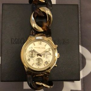 Tortoise and Gold MK watch
